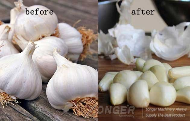 the garlic before and after peel