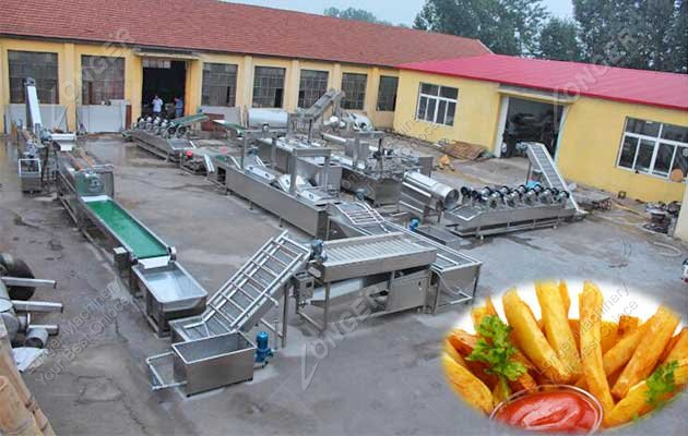french fries production line in factory