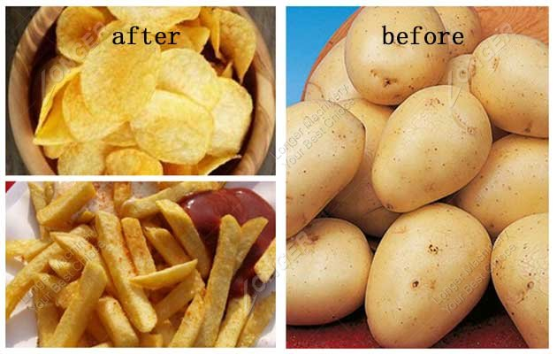 potato chips and french fries cutting effect