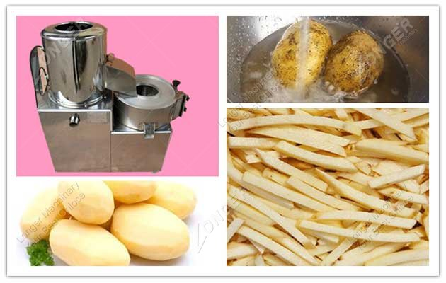 picture of potato washing peeling and cutting machine