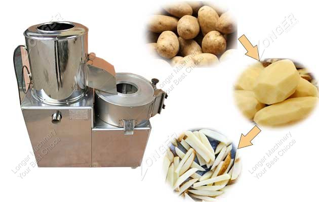 potato washing peeling and cutting machine image